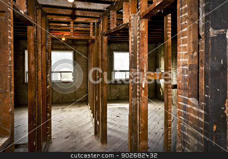 Home interior gutted for renovation stock photo, Interior of a house under gut renovation at construction site by Elena Elisseeva