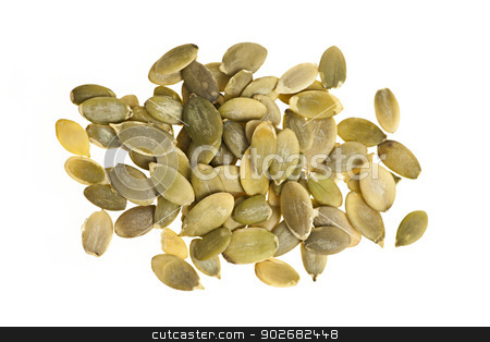 Pumpkin seeds on white stock photo, Heap of raw pumpkin seeds isolated on white background by Elena Elisseeva