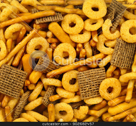 Snack food background stock photo, Closeup background of various snacks and junk food by Elena Elisseeva