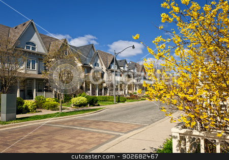 Houses on residential street in spring stock photo, Row of houses on spring street in Toronto Canada by Elena Elisseeva