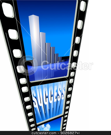 Business success stock photo, Close up of 35mm Film frames for background by Janaka Dharmasena
