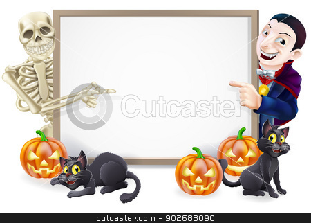 Halloween Sign with Skeleton and Dracula stock vector clipart, Halloween sign or banner with orange Halloween pumpkins and black witch's cats, witch's broom stick and cartoon skeleton and vampire Count Dracula characters  by Christos Georghiou