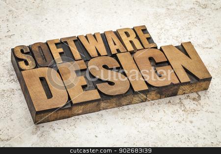 software design stock photo, software design  text in vintage letterpress wood type on a ceramic tile background by Marek Uliasz