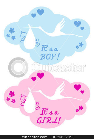 stork with baby boy and girl, vector stock vector
