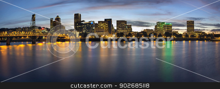 Portland Oregon Downtown Waterfront Skyline at Blue Hour stock photo, Portland Oregon Downtown Waterfront City Skyline with Hawthorne Bridge at Blue Hour Panorama by Jit Lim