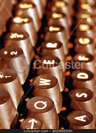 old typewriter stock photo, Close up of old typewriter by Janaka Dharmasena