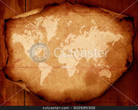 Map of world stock photo, Close up of Vintage world map  2D art by Janaka Dharmasena