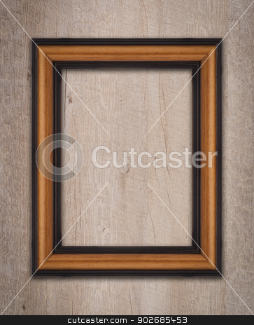 Vintage wooden frame  stock photo, Vintage wooden frame on a wood made wall. by Homydesign