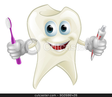 Tooth man holding paste and brush stock vector clipart, An illustration of a cartoon tooth man character mascot holding a toothbrush and tube of toothpaste by Christos Georghiou