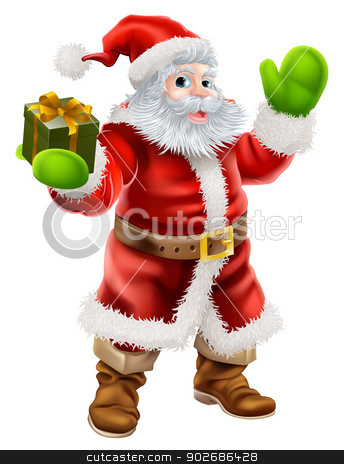 Cartoon Santa Claus stock vector clipart, Cartoon illustration of Santa Claus waving and holding a Christmas present by Christos Georghiou