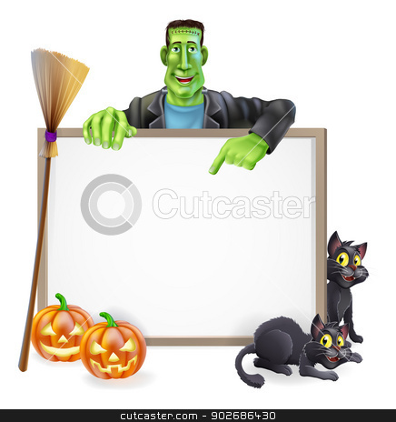 Frankenstein Halloween Sign stock vector clipart, A Halloween sign with a classic Frankenstein's monster character pointing down and witch's black cats, broomstick and Halloween carved orange pumpkins by Christos Georghiou