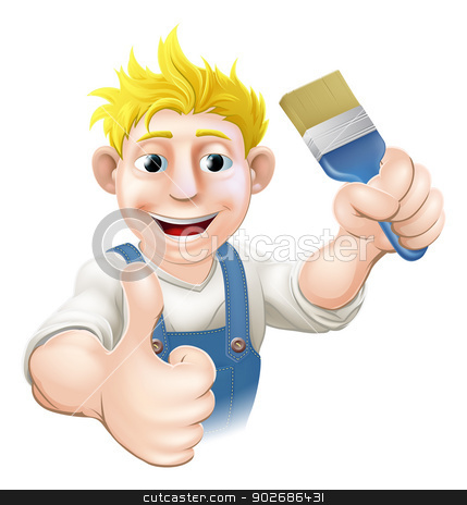 Painter with paintbrush stock vector clipart, An illustration of a cartoon painter holding up a paintbrush and giving a thumbs up by Christos Georghiou