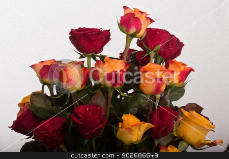 Rose bouquet stock photo, A beautifully arranged bouquet of fresh red and yellow roses by derejeb