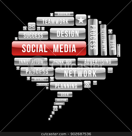 Internet Social Media concept speech buble stock vector clipart, Social media bubble, seo concept with glossy web buttons. Vector illustration layered for easy manipulation and custom coloring. by Cienpies Design
