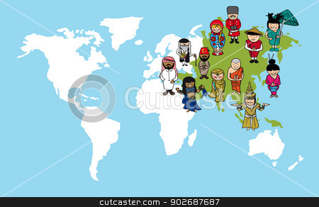 Asian people cartoons world map diversity illustration stock vector asian people cartoons world map diversity illustration gumiabroncs Images
