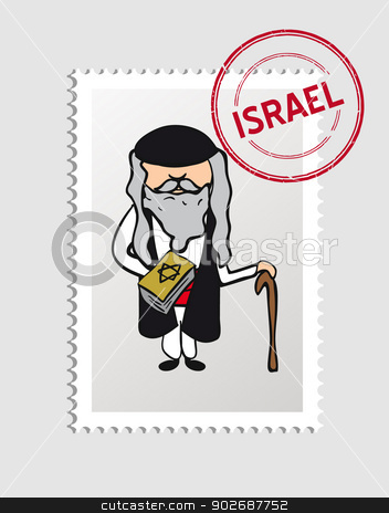 Jewish cartoon person postal stamp stock vector clipart, Jewish priest cartoon with israel postal stamp. Vector illustration layered for easy editing. by Cienpies Design