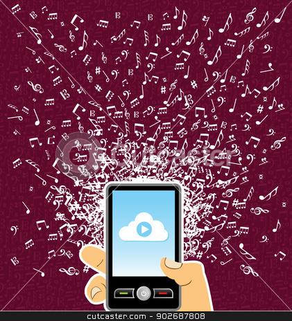 Human hand smart phone music notes splash stock vector