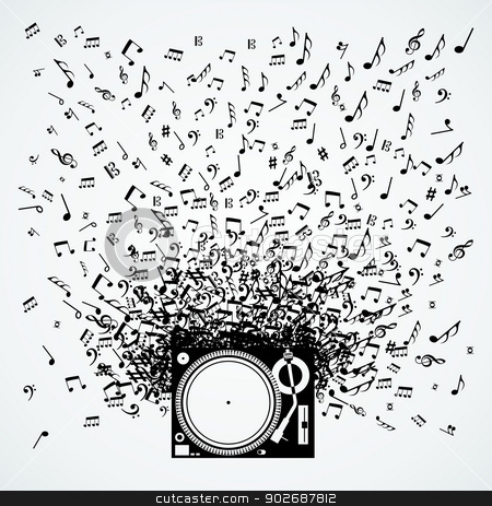 Music notes from turntable isolated design stock vector clipart, Dj turntable music notes splash illustration. Vector file layered for easy manipulation and custom coloring. by Cienpies Design