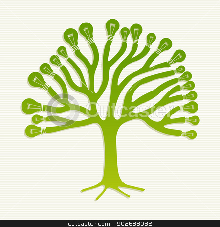 Green recycle light bulbs tree illustration stock vector clipart, Eco friendly light saving bullbs life tree illustration. This vector illustration is layered for easy manipulation and custom coloring by Cienpies Design