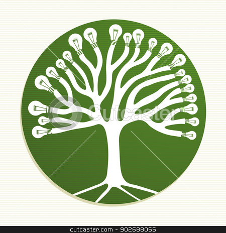 Green circle recycle tree illustration stock vector clipart, Ecologic energy icons tree illustration. This vector illustration is layered for easy manipulation and custom coloring by Cienpies Design