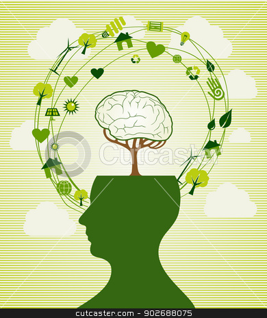 Green recycle head illustration stock vector clipart, Ecologic renewable energy icons human head. This vector illustration is layered for easy manipulation and custom coloring by Cienpies Design