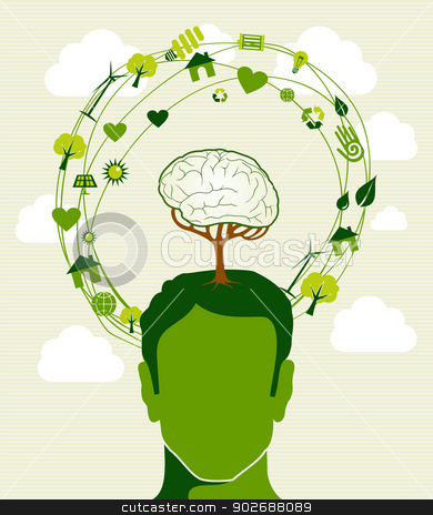 Green ideas tree head concept stock vector clipart, Human head,tree brain green icons recycling ideas. This illustration is layered for easy manipulation and custom coloring by Cienpies Design