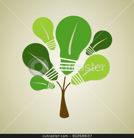 Green life tree illustration stock vector clipart, Eco friendly renewable energy light bulbs tree. This vector illustration is layered for easy manipulation and custom coloring by Cienpies Design