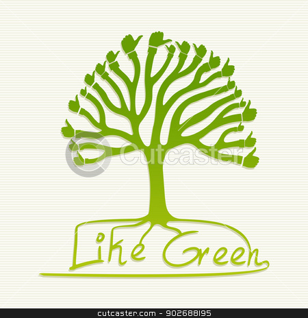 Green thumb up tree illustration stock vector clipart, Eco friendly thumb up human hand tree. This vector illustration is layered for easy manipulation and custom coloring by Cienpies Design