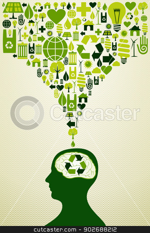 Eco friendly icons illustration stock vector clipart, Think eco energy icons human head. This vector illustration is layered for easy manipulation and custom coloring by Cienpies Design