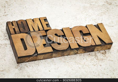 home design in wood type stock photo, home design  text in vintage letterpress wood type on a ceramic tile background by Marek Uliasz