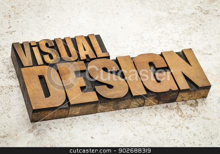 visual design in wood type stock photo, visual design  text in vintage letterpress wood type on a ceramic tile background by Marek Uliasz