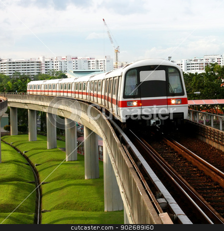 Public Subway Transport stock photo, Public Subway Transport on Concrete Bridge View by Kheng Ho Toh