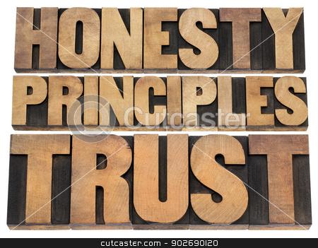honesty, principles and trust stock photo, honesty, principles and trust word abstract - isolated text in vintage letterpress wood type by Marek Uliasz