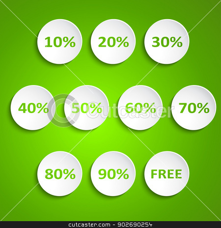Set of simple vector round wheels with discounts stock vector clipart, Set of simple vector round wheels with discounts by kurkalukas