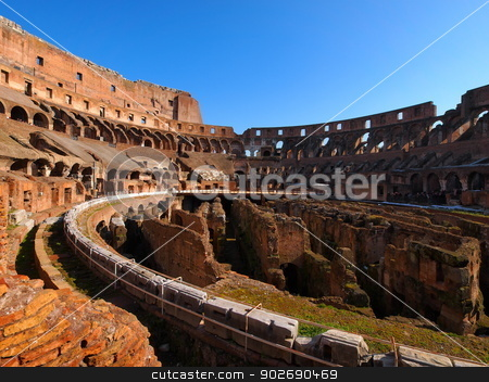 Colosseum in Rome stock photo, Colosseum, famous ancient roman amphitheatre in Rome, Italy by Karol Kozlowski