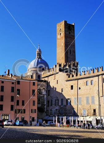 Piazza Sordello in Mantua stock photo, Mantova Piazza Sordello - famous square in Mantua, Lombardy, Italy    by Karol Kozlowski