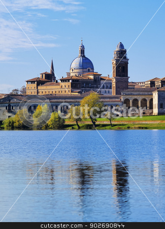 Mantua in Italy stock photo, Cityscape with a view of the lake in Mantua, Lombardy, Italy by Karol Kozlowski