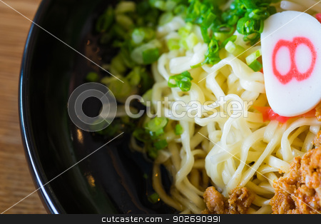 noodle with spicy ground pork sauce stock photo, noodle with spicy ground pork sauce japanese food style by moggara12