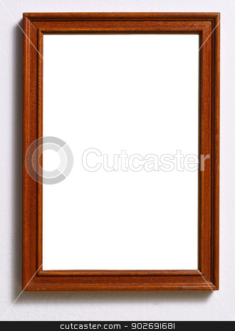 Frame stock photo, Empty wooden frame with white copy space. by Karol Kozlowski