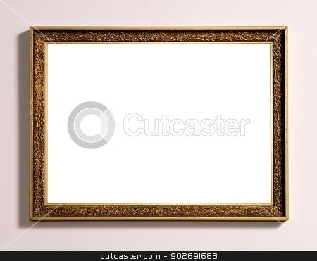 Frame stock photo, Empty wooden frame with white copy space. by Karol Kozlowski