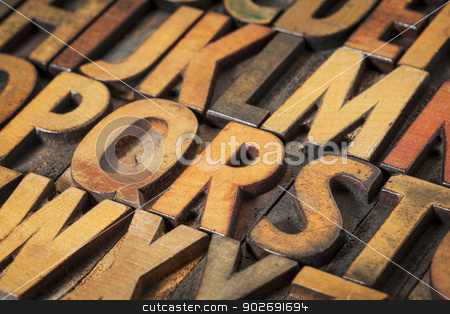 alphabet abstract in wood type stock photo, alphabet abstract in vintage letterpress wood type printing blocks by Marek Uliasz