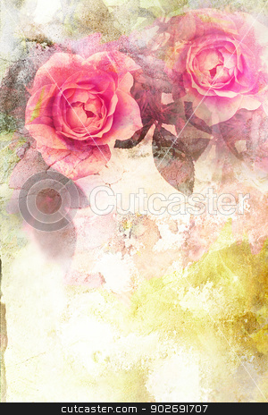 Romantic pink roses background stock photo, Romantic pink roses vintage background by Juliet Photography