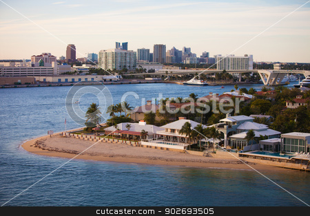 Fort Lauderdale Homes and Skyline  stock photo, Fort Lauderdale High End Homes and  City Skyline by Scott Griessel