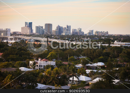 Fort Lauderdale Skyline stock photo, Fort Lauderdale Skyline with Traffic Bridge and City Detail by Scott Griessel