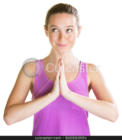 Lady Looking Cute stock photo, Cute young woman praying and looking over by Scott Griessel