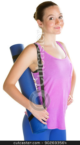 Lady Carrying Yoga Mat stock photo, Confident young woman carrying yoga mat on isolated background by Scott Griessel