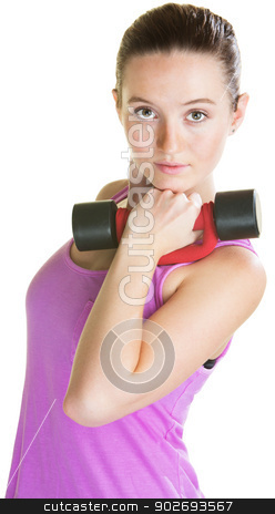 Young Woman with Dumbbell stock photo, Serious young woman with dumbbell near her face by Scott Griessel