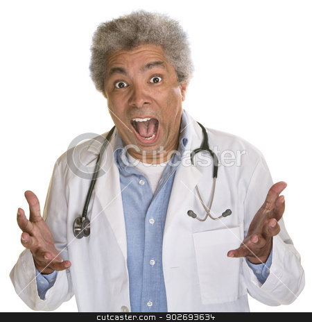 Screaming Doctor stock photo, Screaming medical doctor with hands out on white background by Scott Griessel
