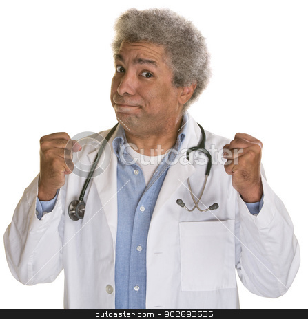 Doctor with Clenched Fists stock photo, Frustrated doctor with clenched fists over isolated background by Scott Griessel