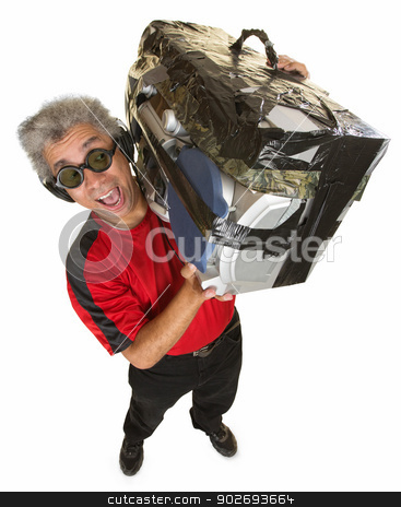 Smiling Man with Old Boom Box stock photo, Handsome mature man holding portable radio with tape by Scott Griessel